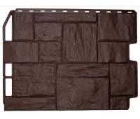 Фасадные панели (цокольный сайдинг) коллекция ТУФ - Тёмно-коричневый