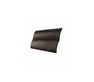 Металлический сайдинг Блок-хау 0,45 PE с пленкой RR 32 Темно-коричневый от производителя Grand Line по цене 398 р