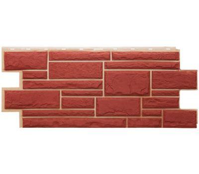 Фасадные панели (цокольный сайдинг) коллекция Дикий камень - Красный от производителя Т-сайдинг по цене 384.00 р