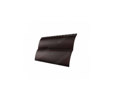 Металлический сайдинг Блок-хау 0,45 PE с пленкой RAL 8017 Шоколад от производителя Grand Line по цене 397.76 р