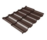 Металлочерепица модульная квинта Uno c 3D резом 0,45 Drap RAL 8017 шоколад