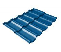 Металлочерепица модульная квинта Uno c 3D резом 0,45 PE RAL 5005 сигнальный синий