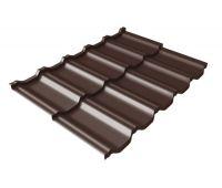 Металлочерепица модульная квинта Uno c 3D резом 0,5 GreenСoat Pural Matt RR 887 шоколадно-коричневый (RAL 8017 шоколад)