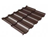 Металлочерепица модульная квинта Uno c 3D резом 0,5 Quarzit PRO Matt RAL 8017 шоколад