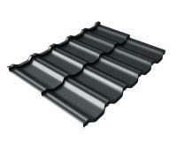 Металлочерепица модульная квинта Uno c 3D резом 0,5 Rooftop Matte RAL 7016 антрацитово-серый