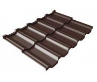 Металлочерепица модульная квинта Uno c 3D резом 0,5 Satin Мatt RAL 8017 шоколад