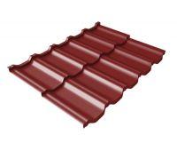 Металлочерепица модульная квинта Uno c 3D резом 0,5 Satin RAL 3011 коричнево-красный