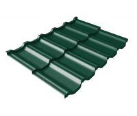 Металлочерепица модульная квинта Uno c 3D резом 0,5 Satin RAL 6005 зеленый мох