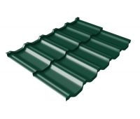Металлочерепица модульная квинта Uno c 3D резом 0,5 Velur RAL 6005 зеленый мох